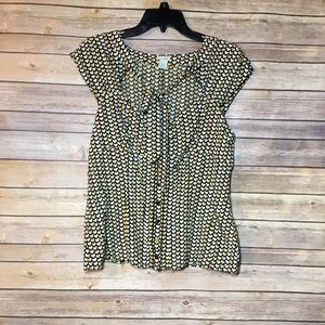 Anthropologie Odille Silk Yellow Hearted Blouse
